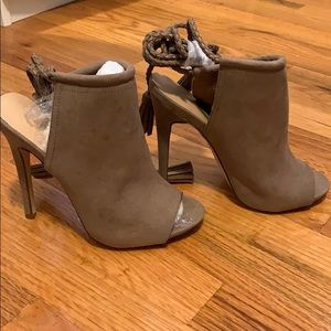Open toe heels with wrap around ankle